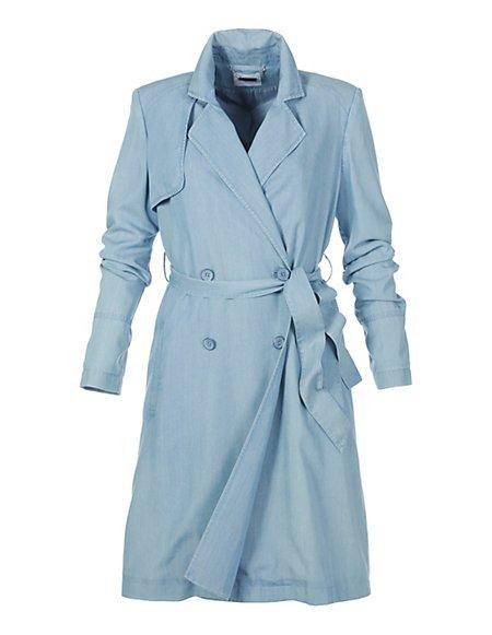 Kurzer Damen Trenchcoat Damen bleu / blau