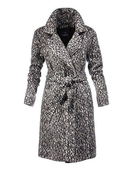 Wintermantel mit Leopardenmuster Damen taupe/multicolor / taupe