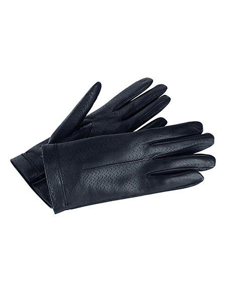 MADELEINE Leder-Handschuhe mit Seidenfutter Damen marine / blau
