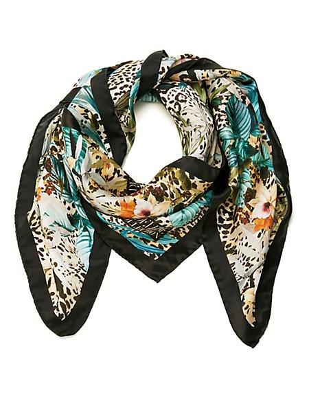 aa1882379ce72c MADELEINE Seide Bedrucktes Seidentuch mit Blüten- und Leo-Muster Damen  schwarz/multicolor /