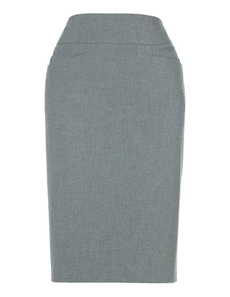 Bild MADELEINE  Schlichter Bleistiftrock Damen hellgrau-melange / grau