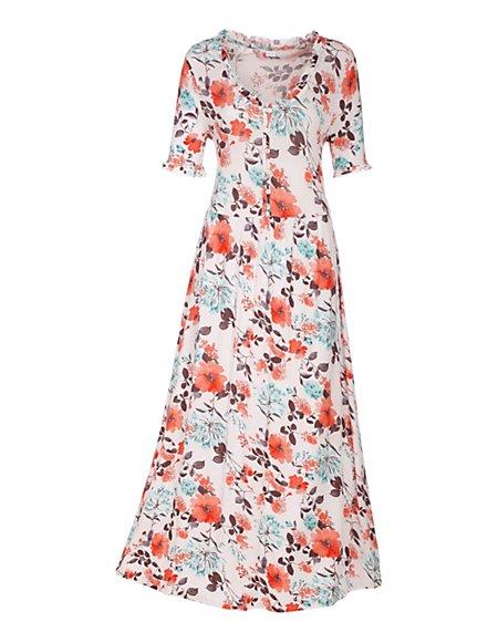 Nachthemd mit Blumenmuster Damen crème/multicolor / weiss
