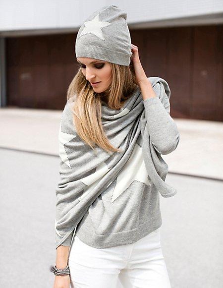 Dreiecks-Schal aus Wolle Damen grau