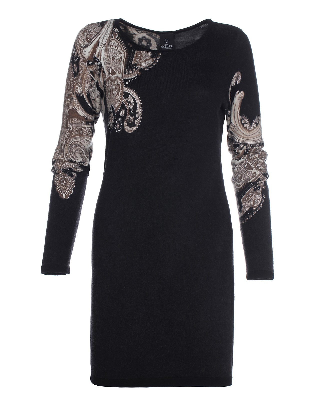 Bestbewertete Mode exquisites Design 50% Preis Longpullover mit Paisleymuster, schwarz/taupe, schwarz ...