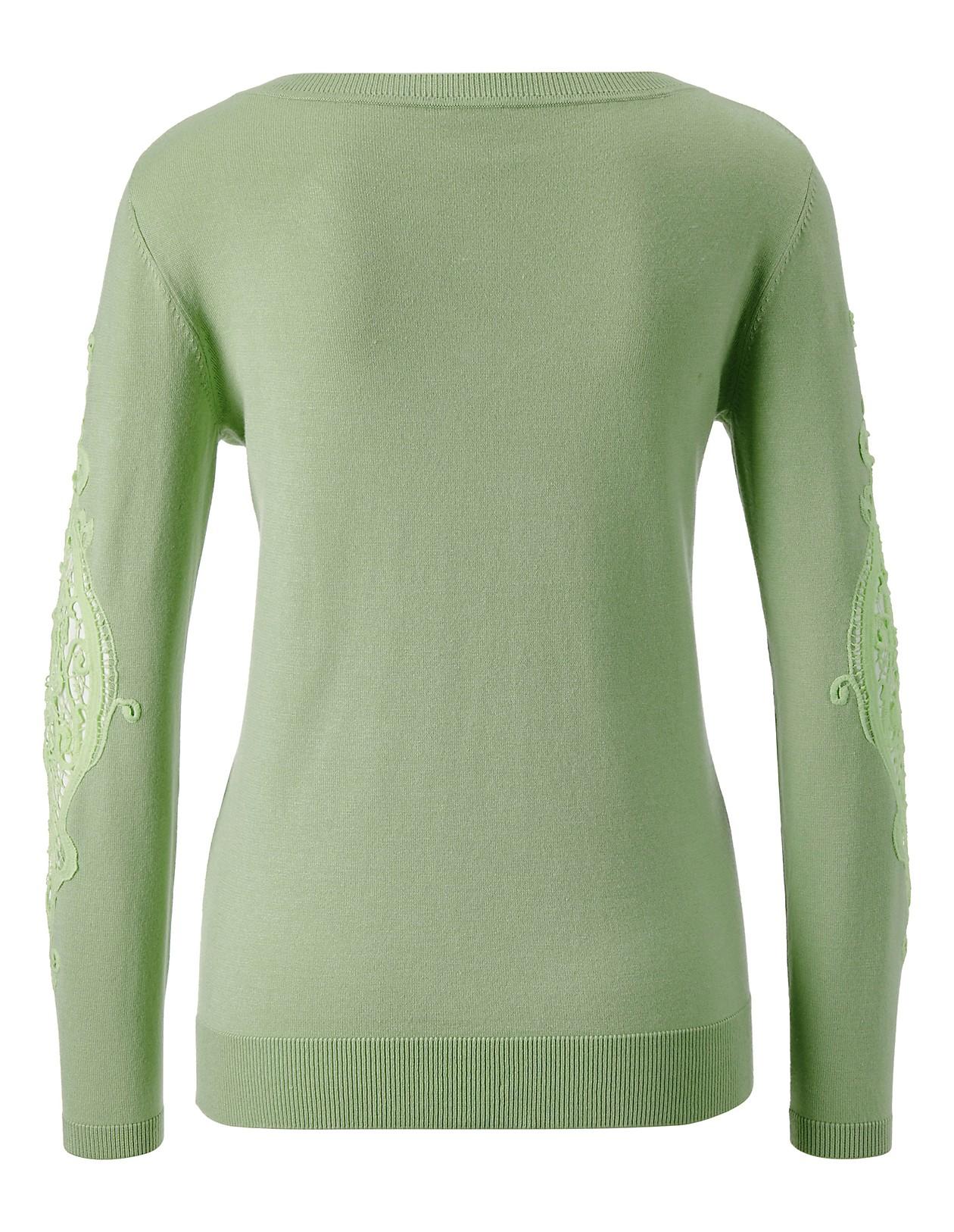 Pullover mit V Ausschnitt und Spitzeneinsatz, kirschblüte, lila