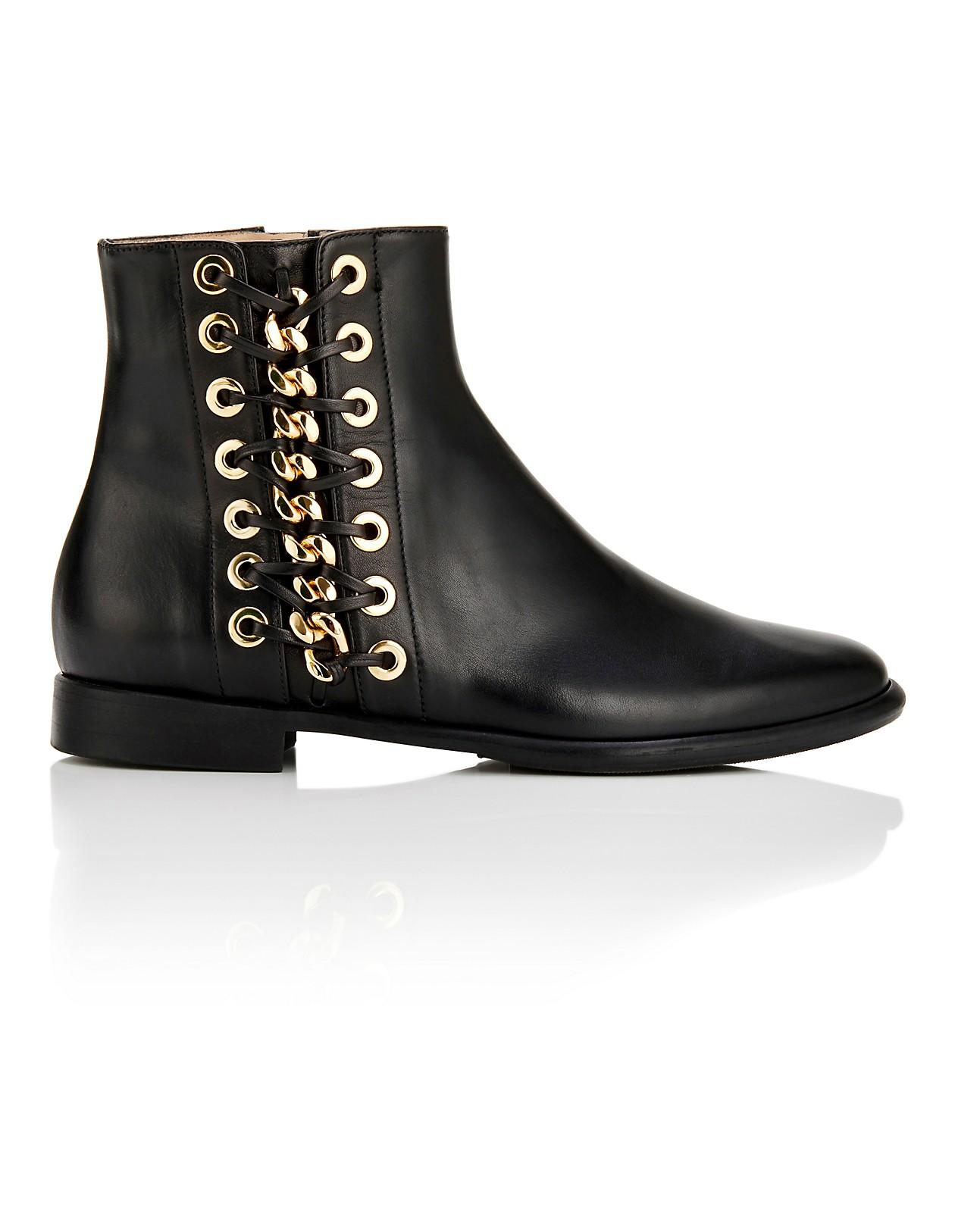 finest selection c53df 4ca37 Leder-Boots mit Ketten und Ösen, schwarz, schwarz ...