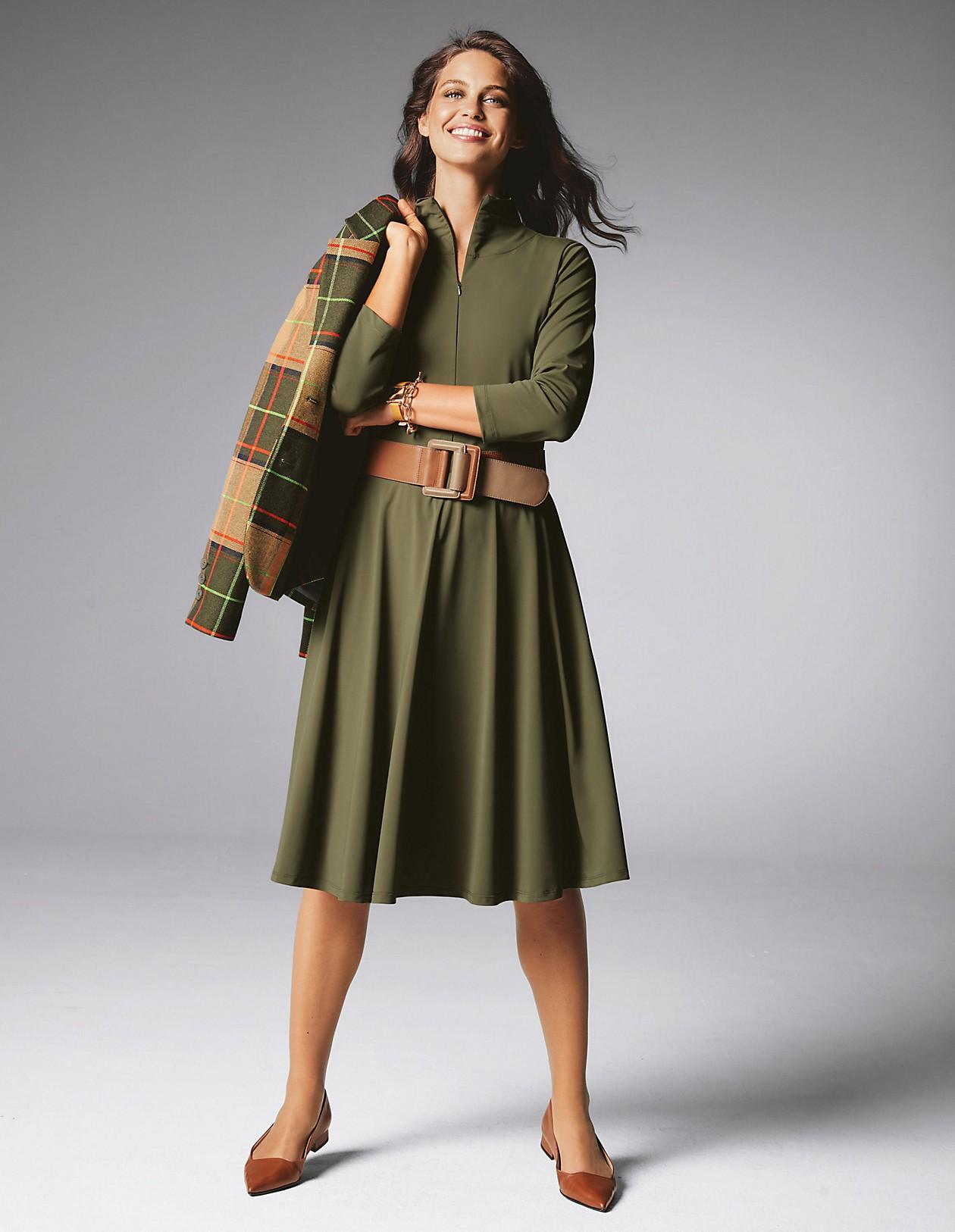 Kleid mit Reißverschluss, khaki, grün  MADELEINE Mode