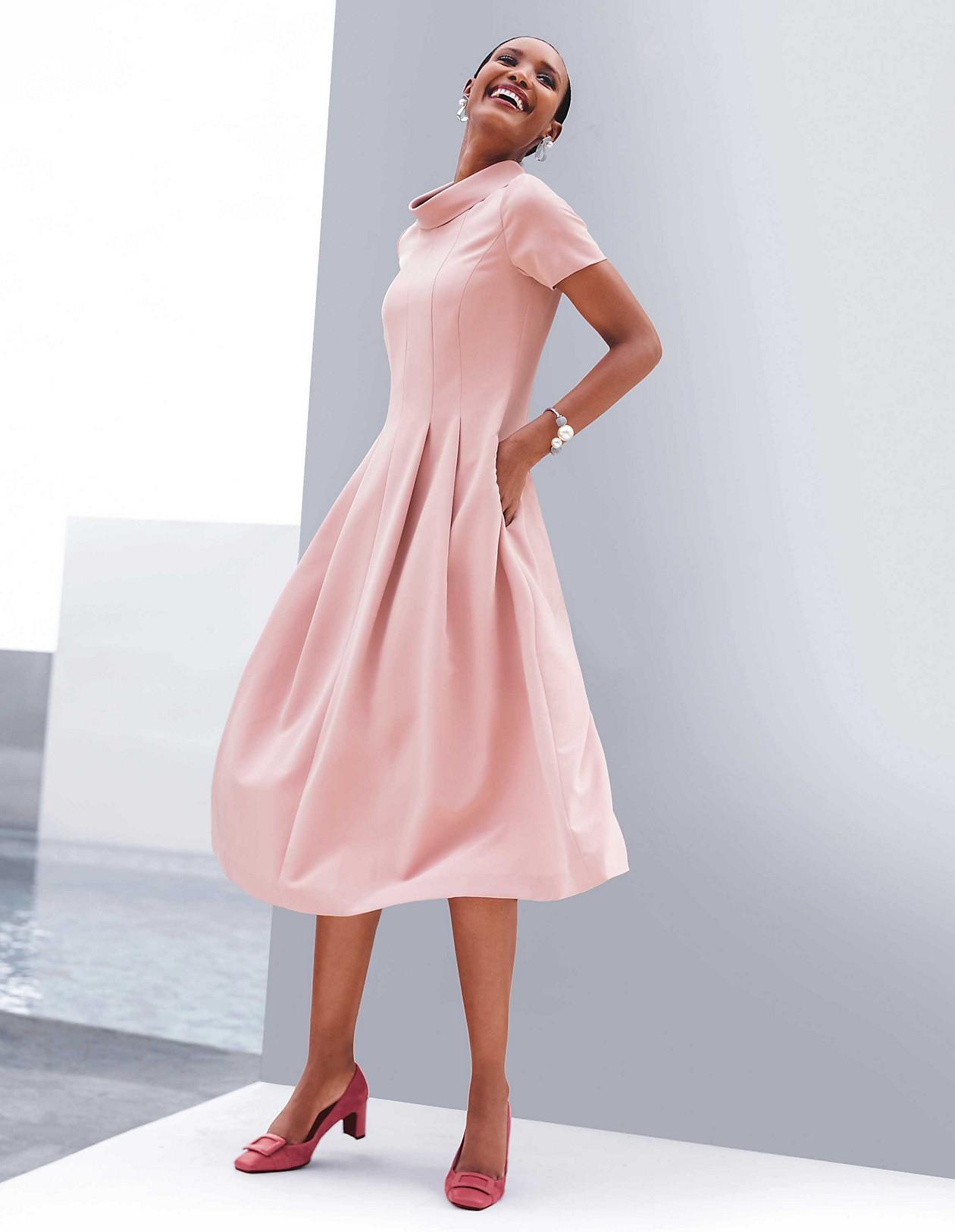 Schwungvolles Kleid mit Halbarm, altrosa, rosa  MADELEINE Mode